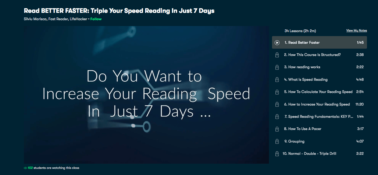 Read Better Faster – Speed Reading Course to Triple the Speed – Skillshare