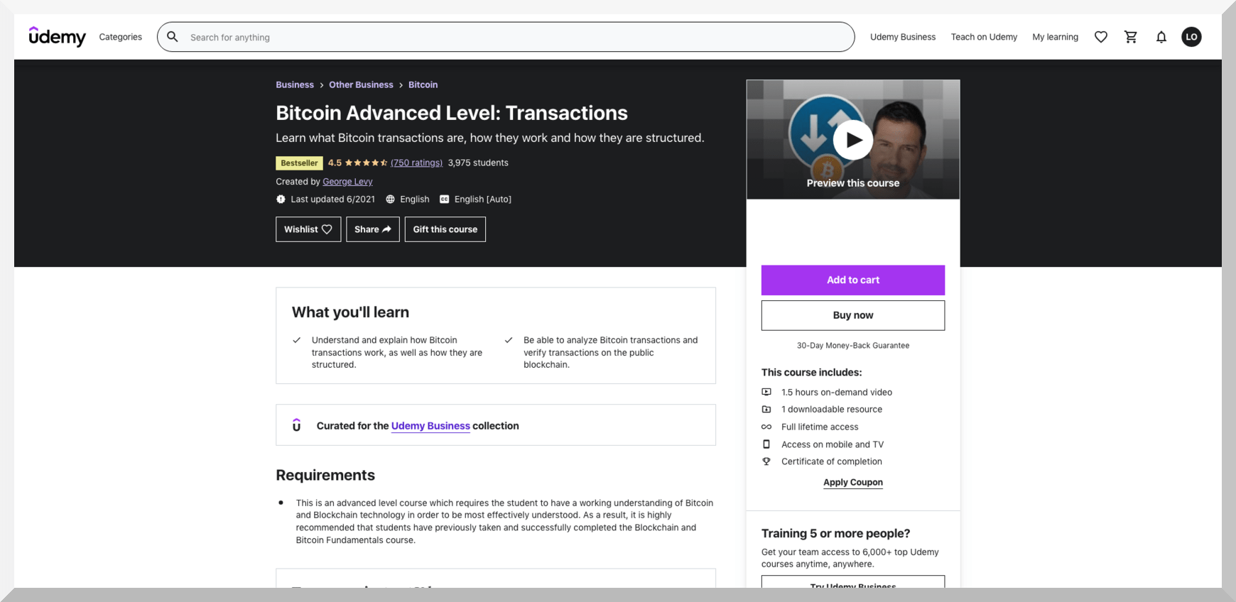 Bitcoin Advanced Level- Transactions – Udemy