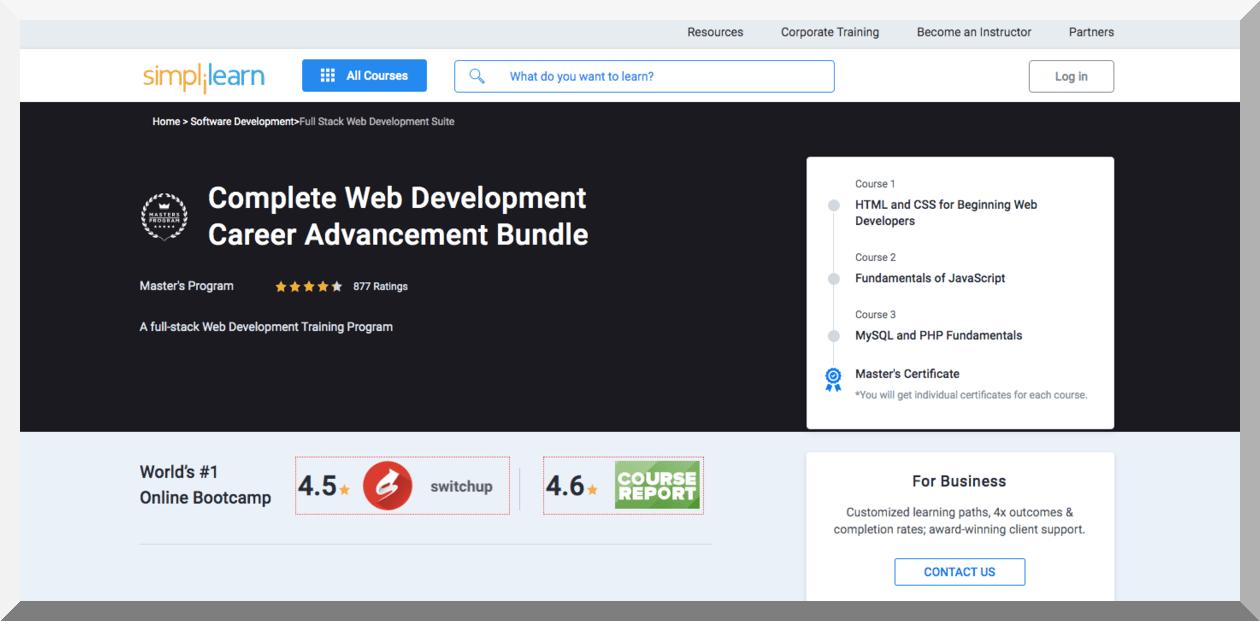 Complete Web Development Career Advancement Bundle - Simplilearn