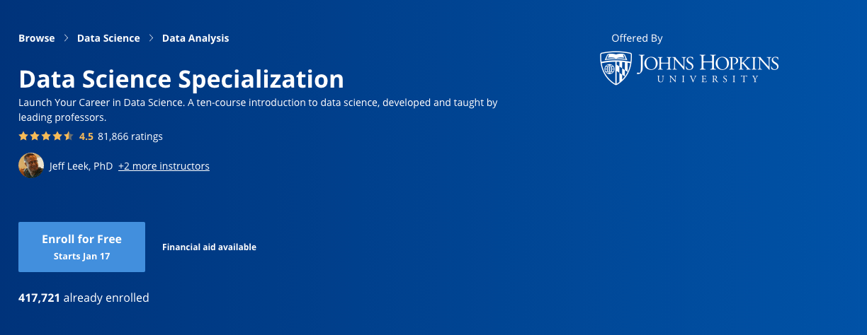 Data Science Specialization (Johns Hopkins University)