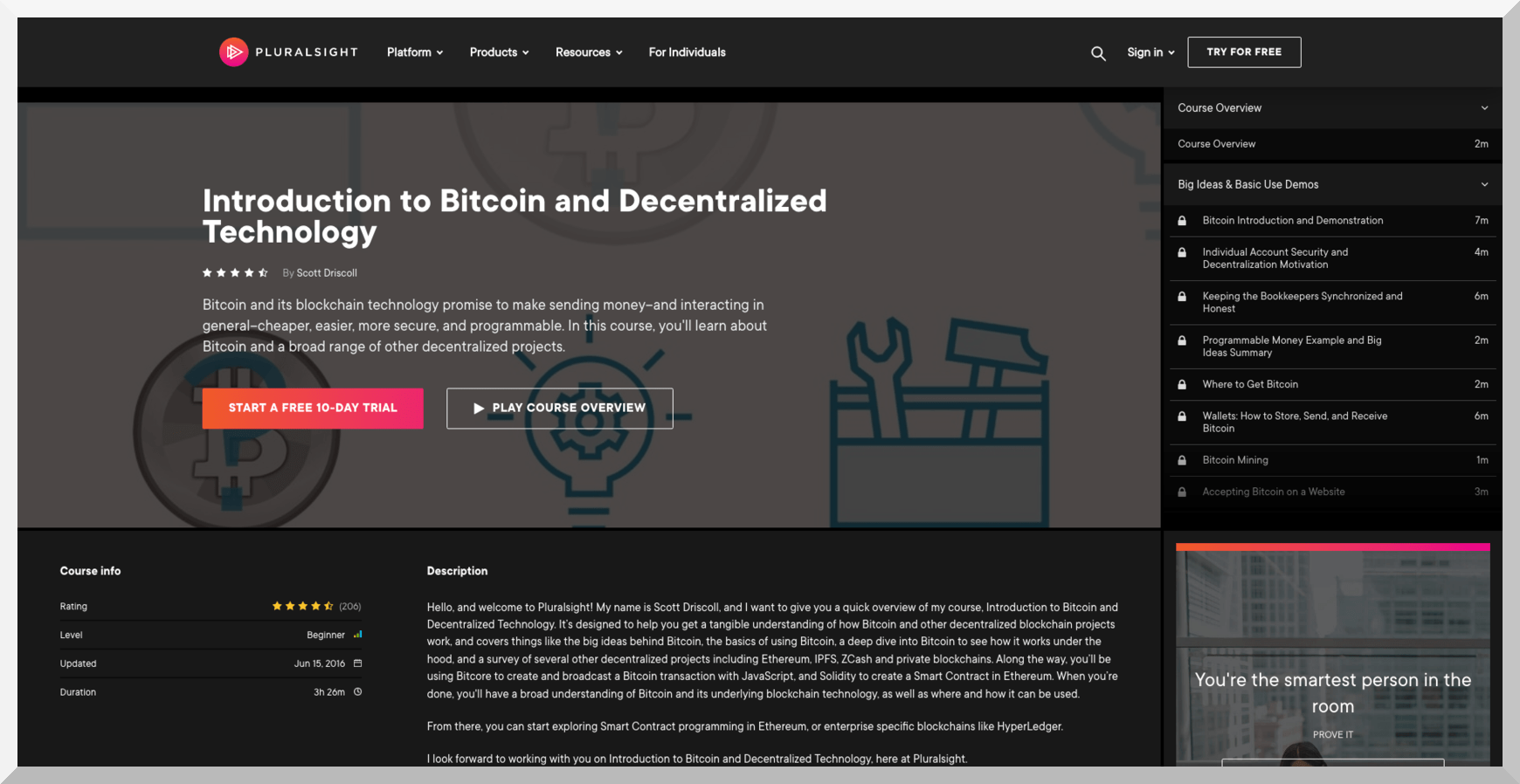 Introduction to Bitcoin and Decentralized Technology – Pluralsight