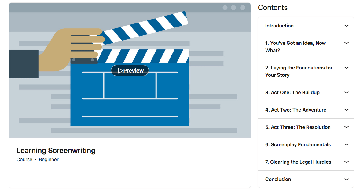 Learning Screenwriting - LinkedIn Learning