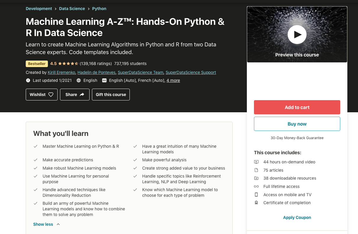 Machine Learning A-Z- Hands-On Python and R in Data Science (Udemy)