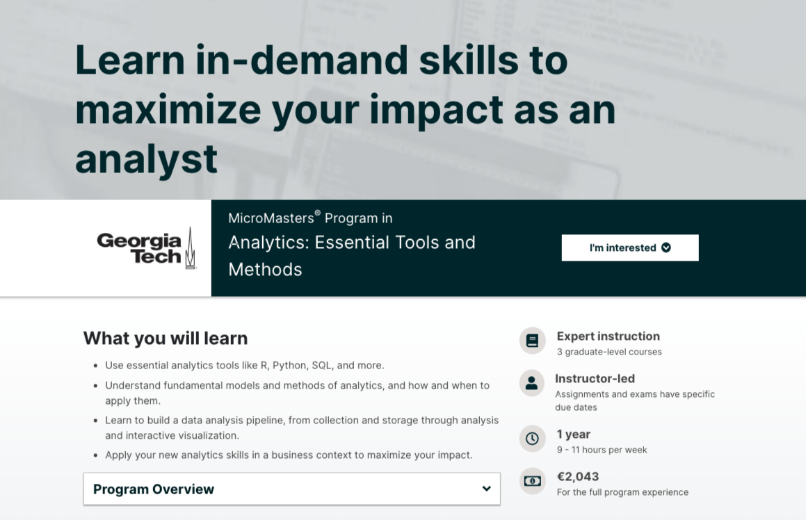 MicroMasters Program in Analytics- Essential Tools and Methods