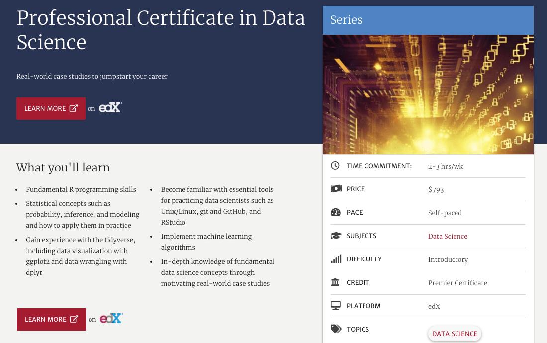Professional Certificate in Data Science (Harvard University)