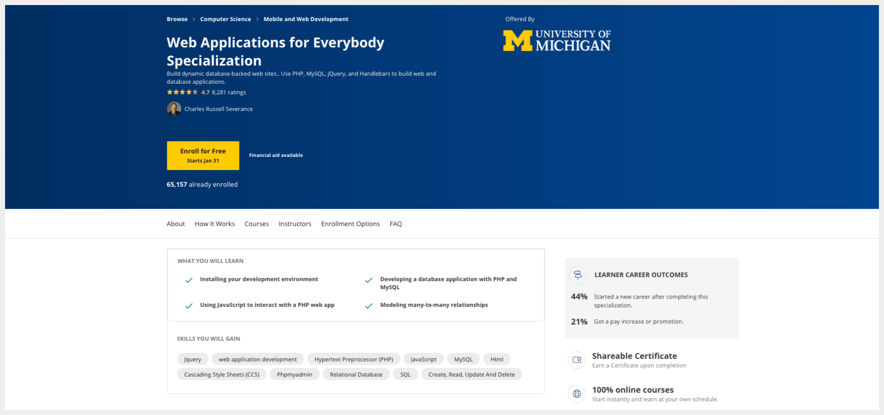 Web Applications for Everybody Specialization – University of Michigan – Coursera