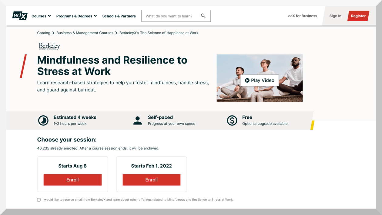 edX – Mindfulness and Resilience to Stress