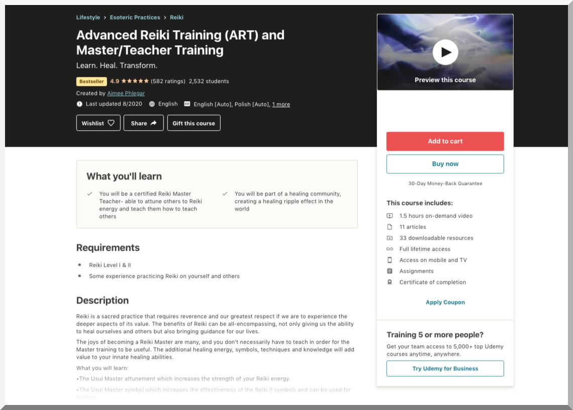 Advanced Reiki Training (ART) and Master:Teacher Training - Udemy