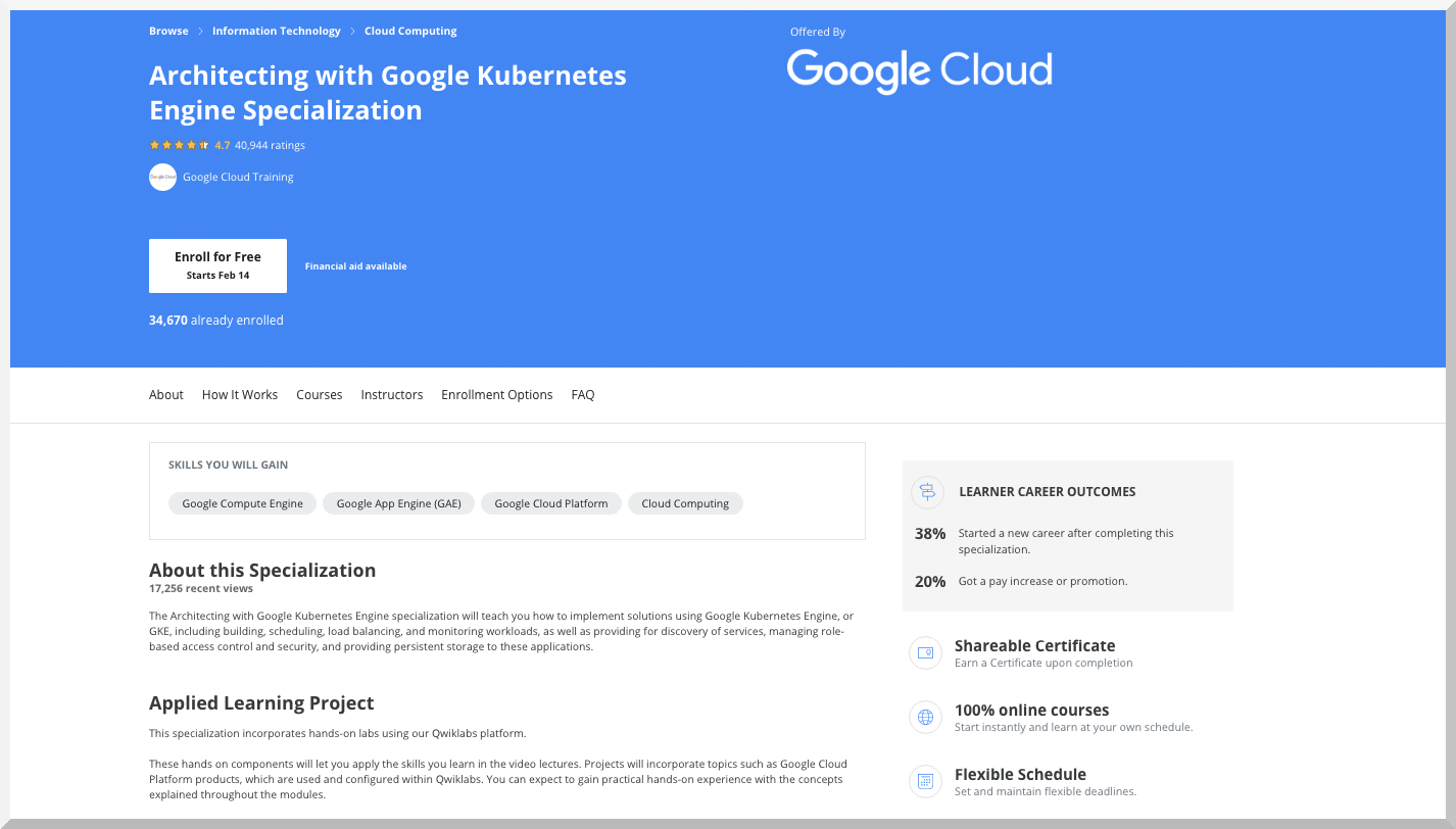 Architecting with Google Kubernetes Engine Specialization – Google – Coursera