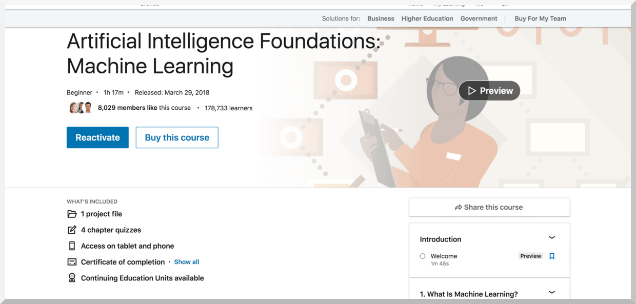 Artificial Intelligence Foundations- Machine Learning – LinkedIn Learning