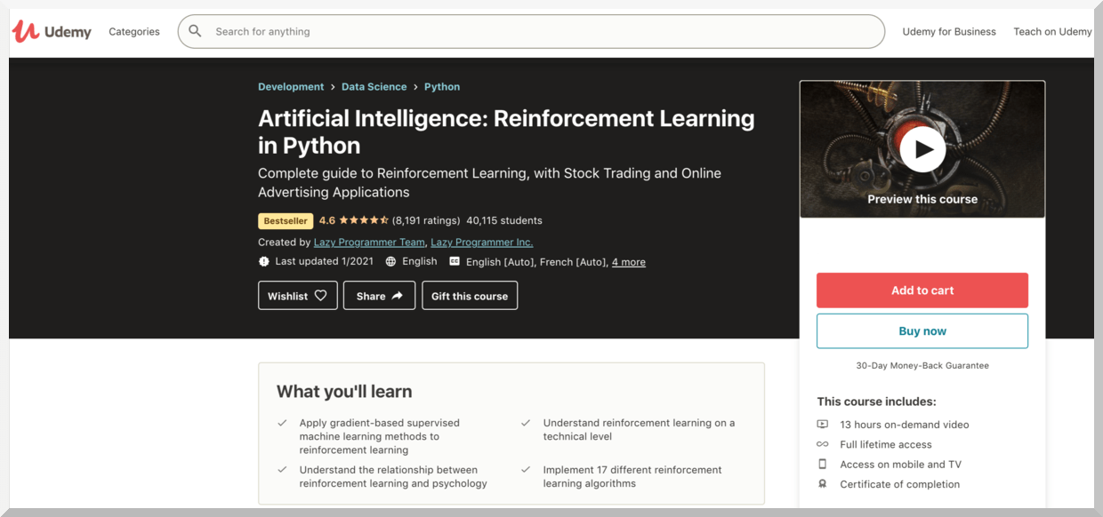 Artificial Intelligence: Reinforcement Learning in Python – Udemy