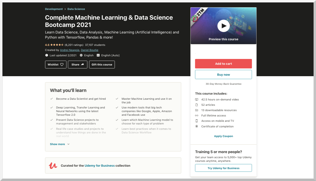 Complete Machine Learning and Data Science Bootcamp 2021 – Udemy