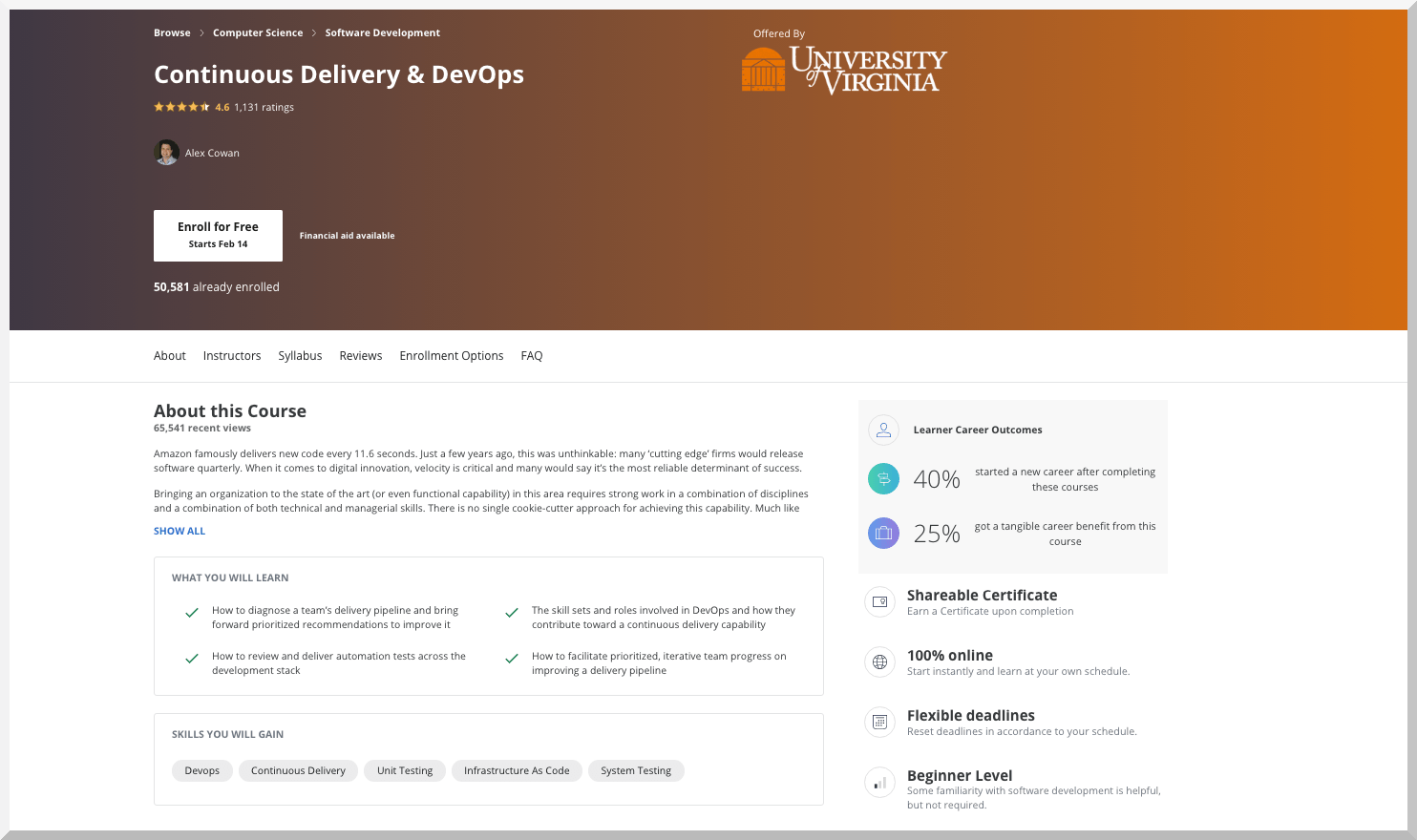 Continuous Delivery and DevOps – University of Virginia – Coursera