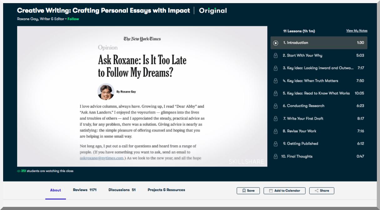 Creative Writing- Crafting Personal Essays with Impact – Skillshare