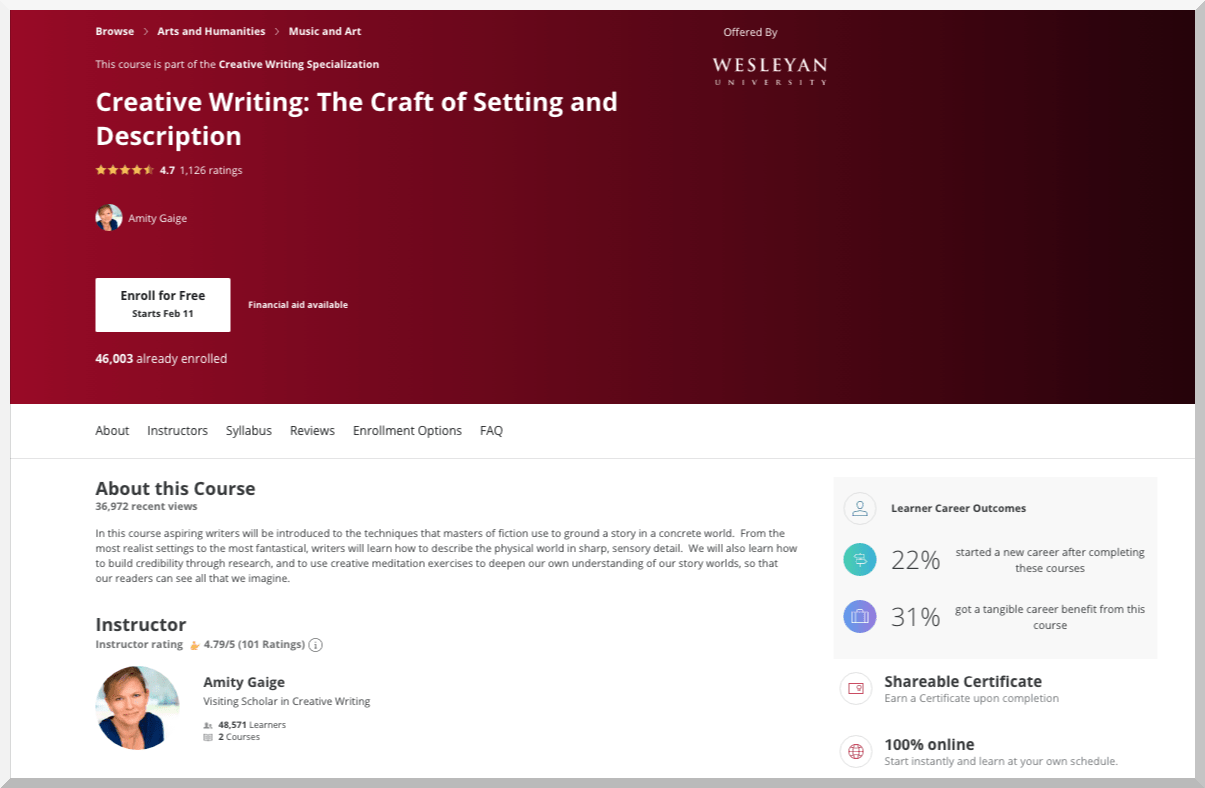 Creative Writing- The Craft of Setting and Description – Coursera
