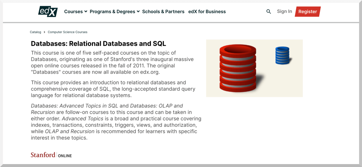 Databases- Relational Databases and SQL – Stanford – edX