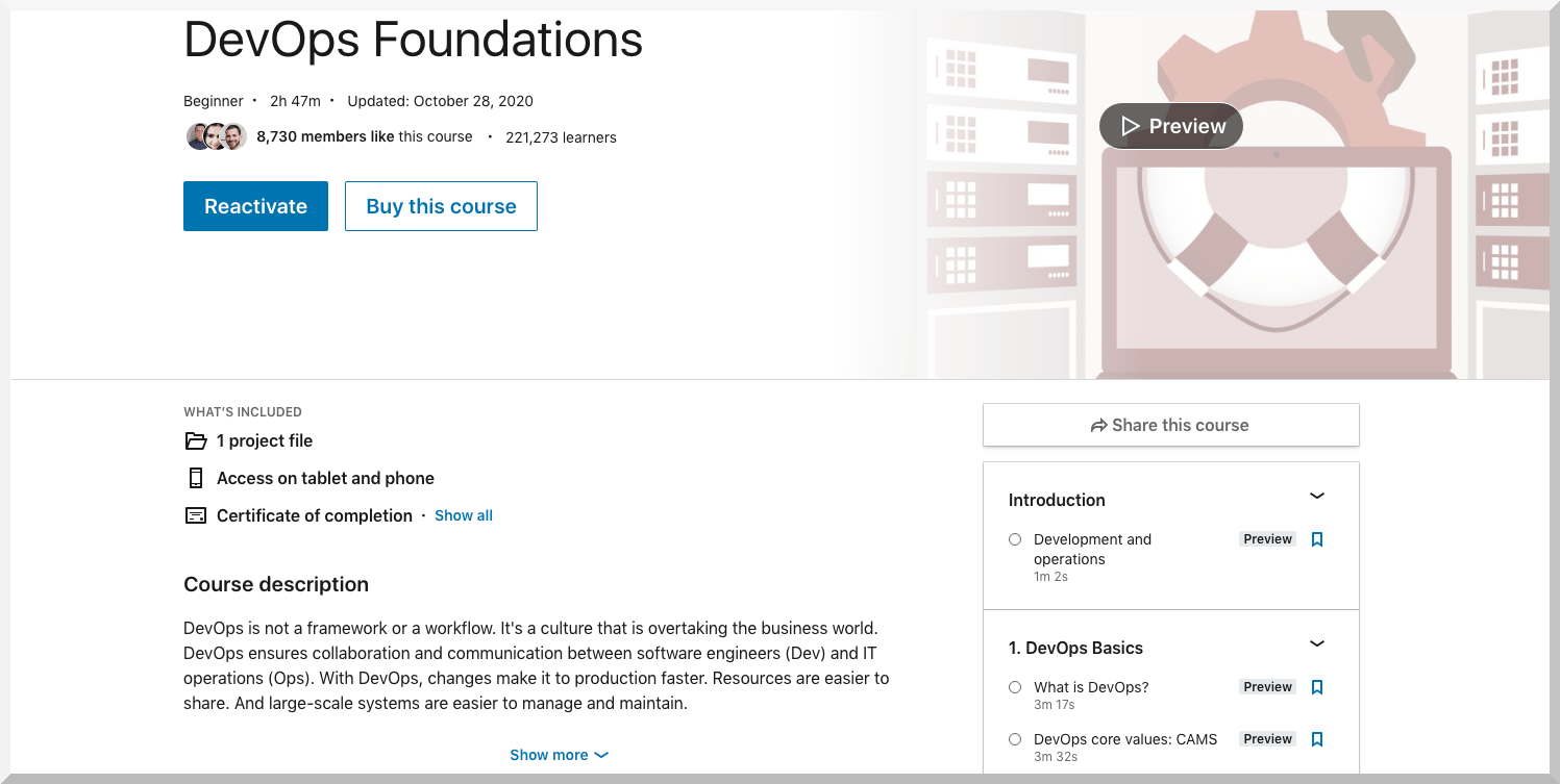 DevOps Foundations – LinkedIn Learning
