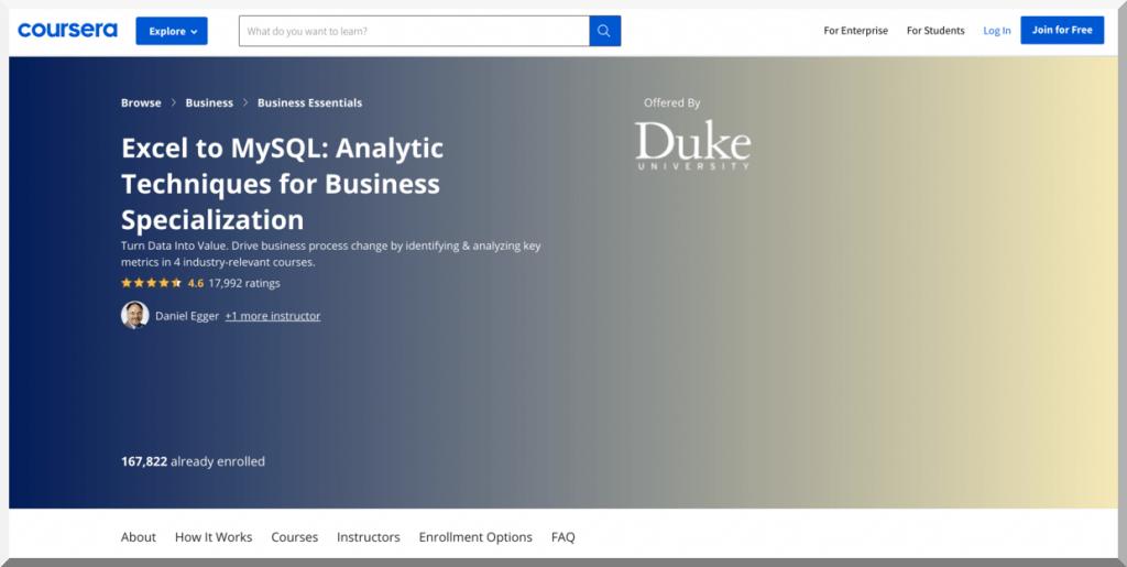 Excel to MySQL by Duke University – Coursera