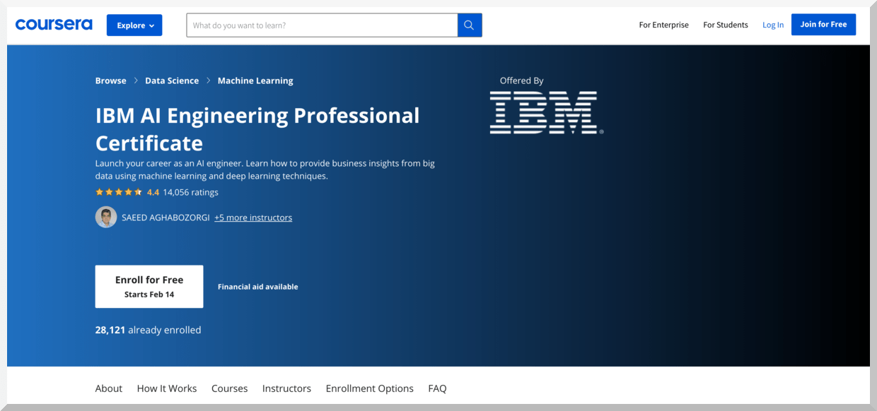 IBM AI Engineering Professional Certificate – Coursera