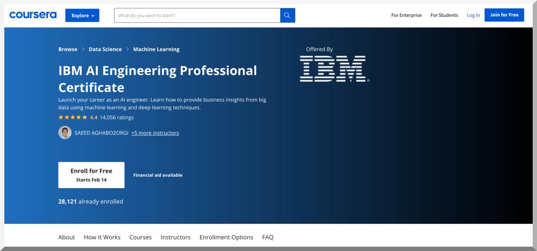 IBM AI Engineering Professional Certificate – Coursera