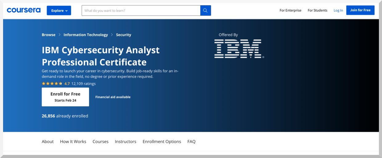 IBM Cybersecurity Analyst Professional Certificate – Coursera
