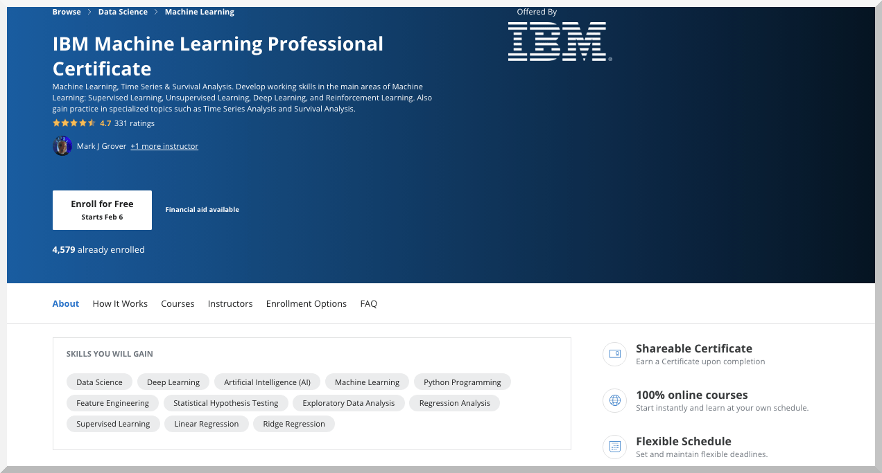 IBM Machine Learning Professional Certificate – Coursera