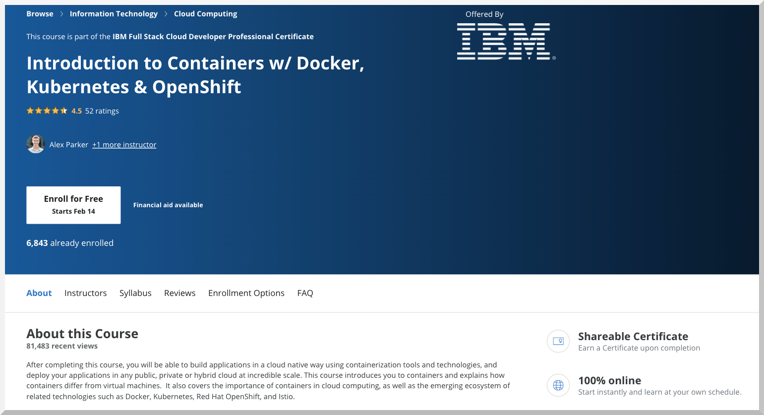 Introduction to Containers w:Docker, Kubernetes & Openshift – IBM – Coursera