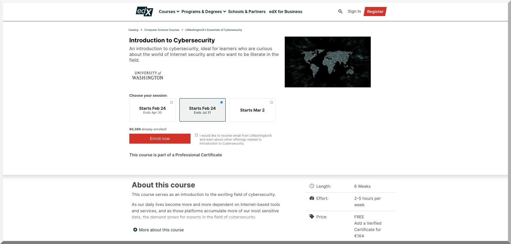 Introduction to Cybersecurity – University of Washington – edX