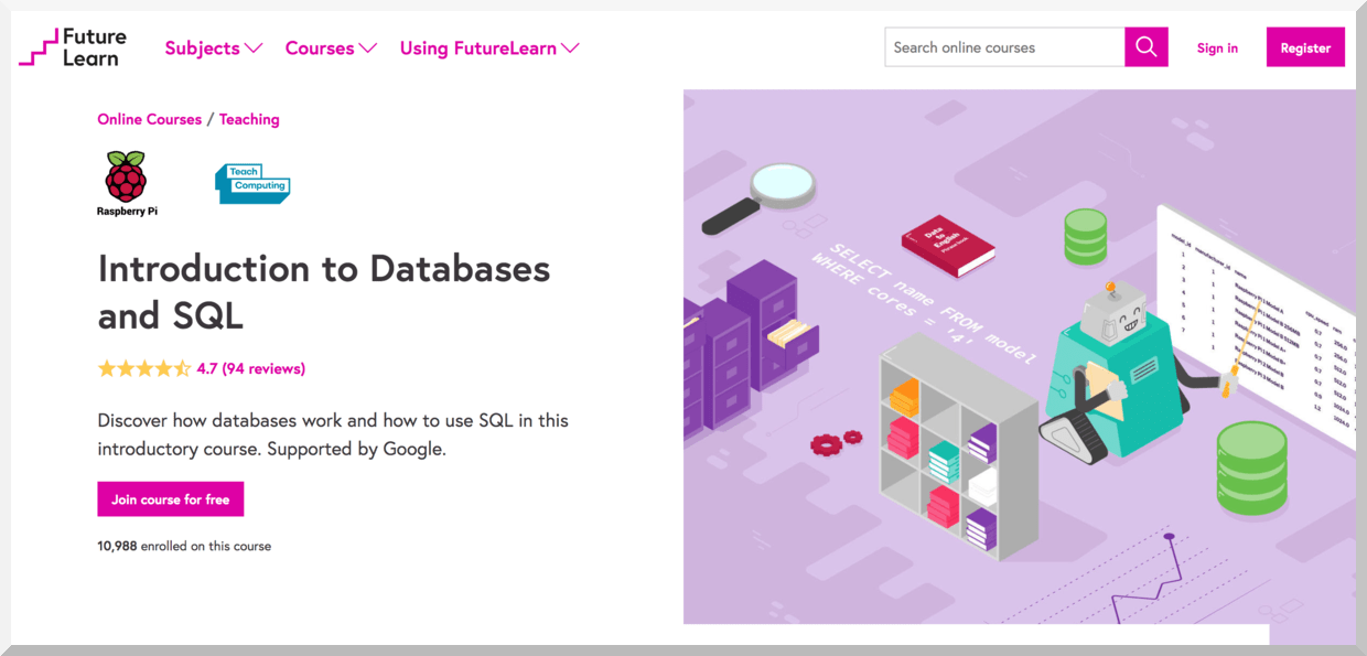 Introduction to Databases and SQL – FutureLearn