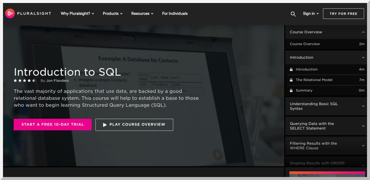 Introduction to SQL – Pluralsight