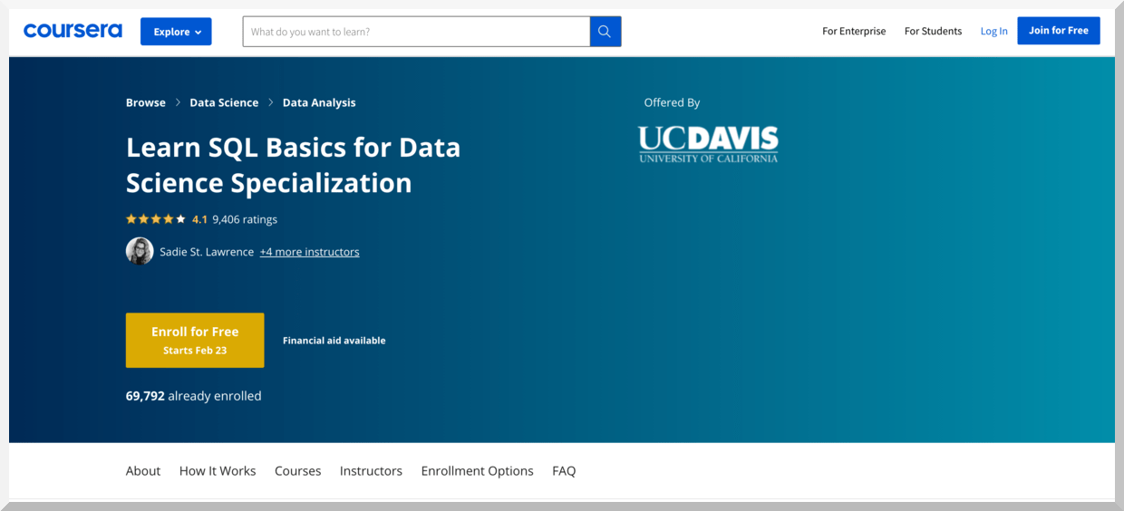 Learn SQL Basics for Data Science Specialization – Coursera