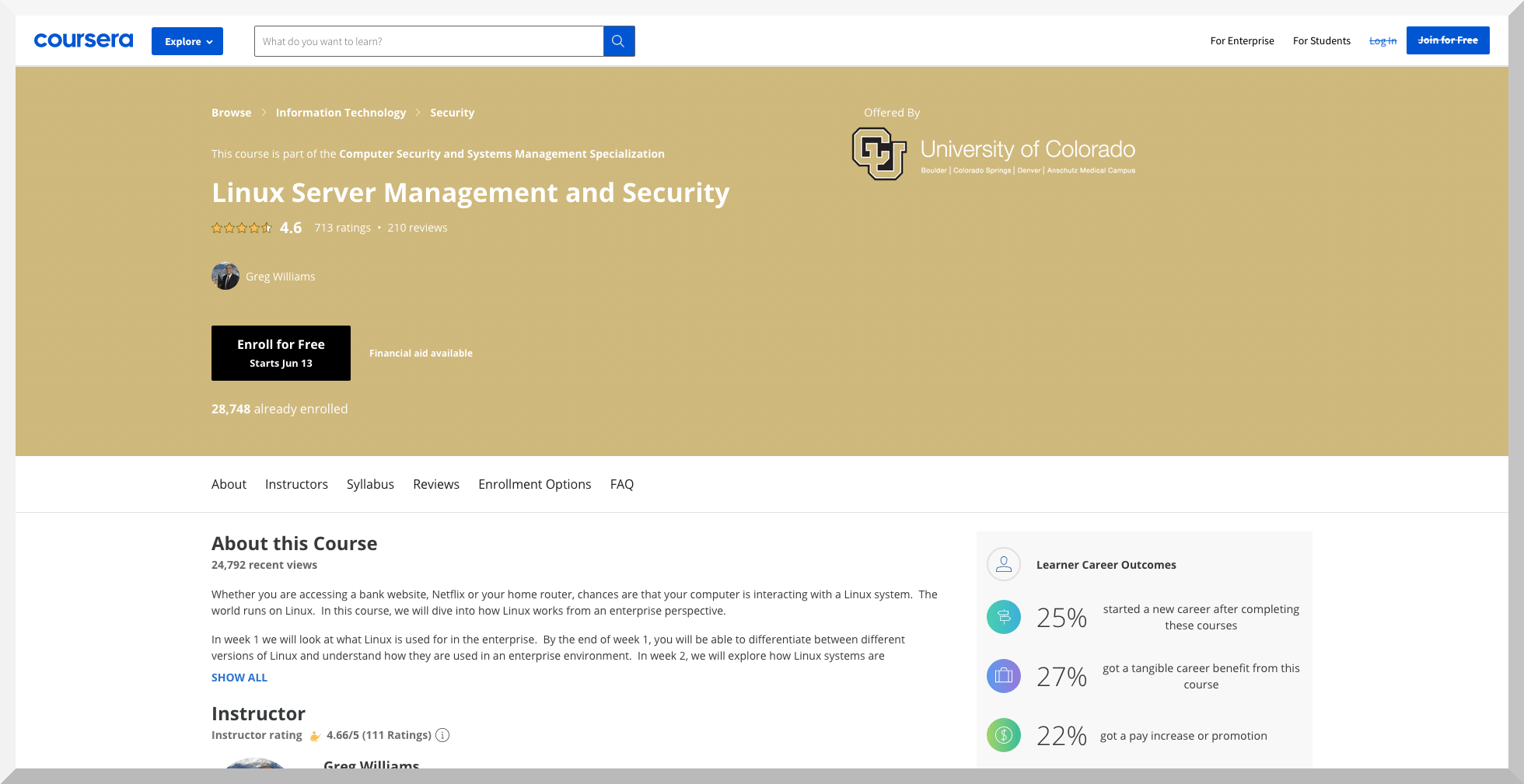 Linux Server Management and Security by University of Colorado – Coursera
