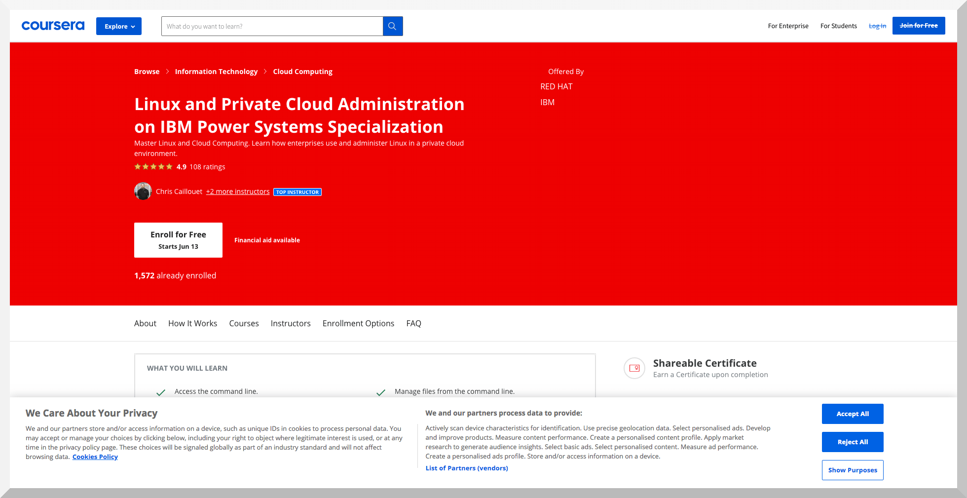 Linux and Private Cloud Administration on IBM Power Systems Specialization – Coursera