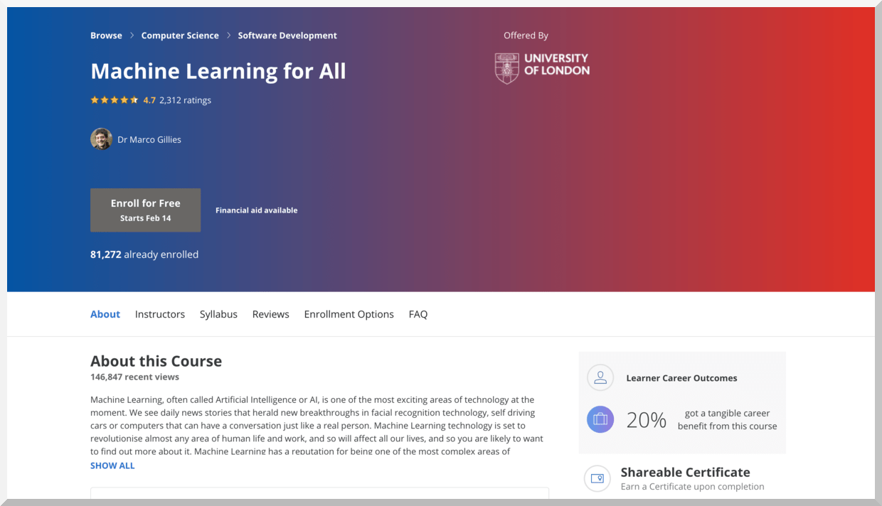 Machine Learning for All – University of London – Coursera