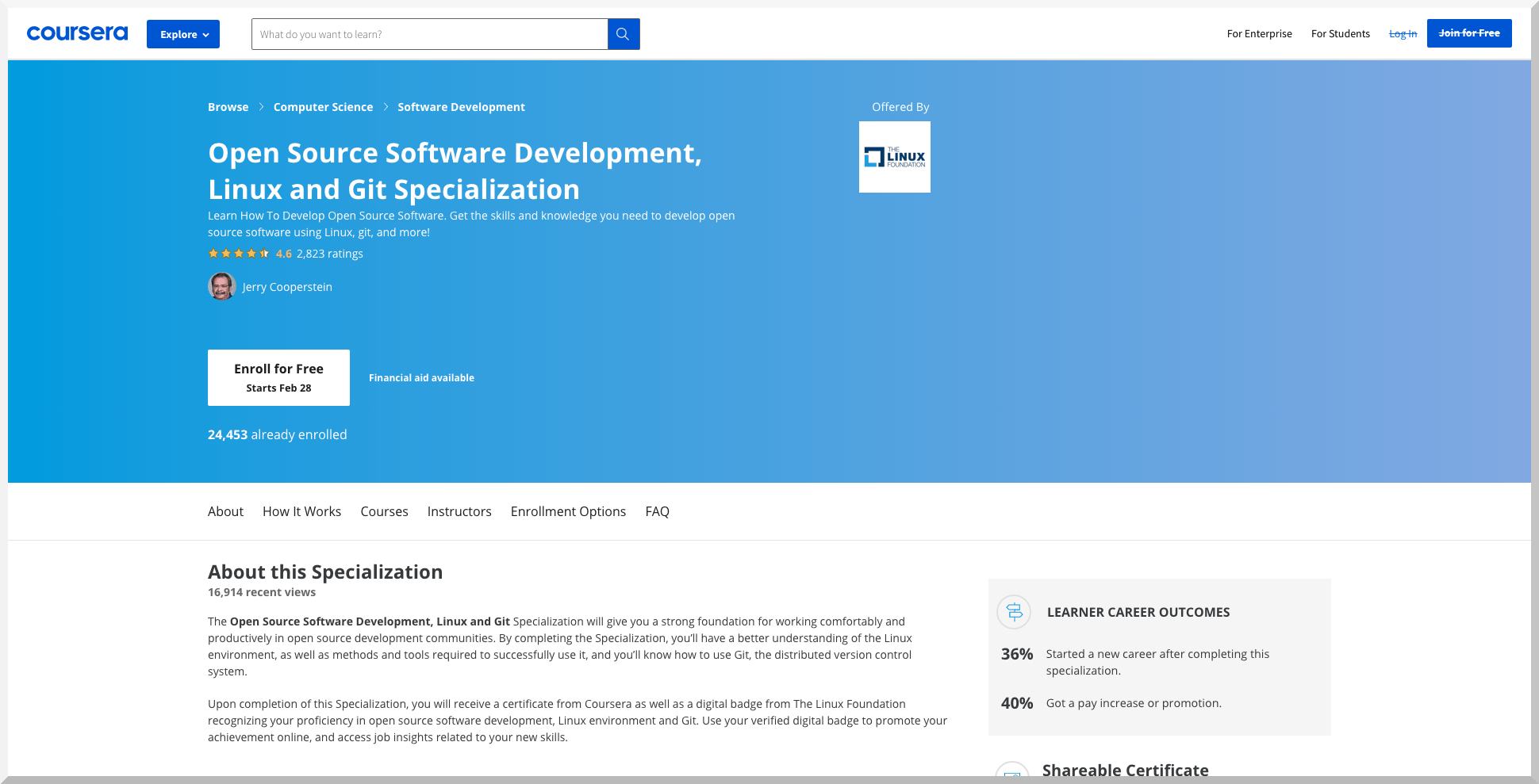 Open-Source Software Development, Linux and Git Specialization – Coursera