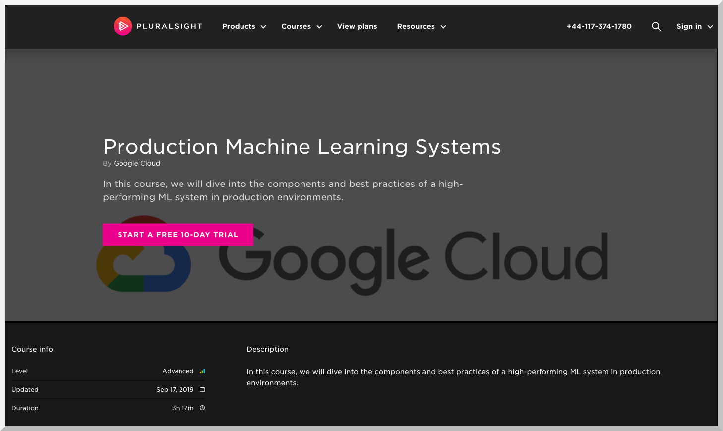 Production Machine Learning Systems – Google Cloud – Pluralsight