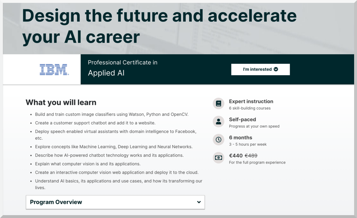 Professional Certificate in Applied AI – IBM – edX