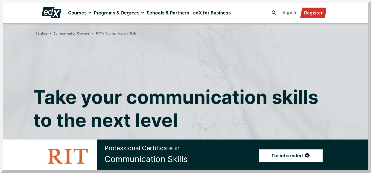 Professional Certificate in Communication Skills – edX