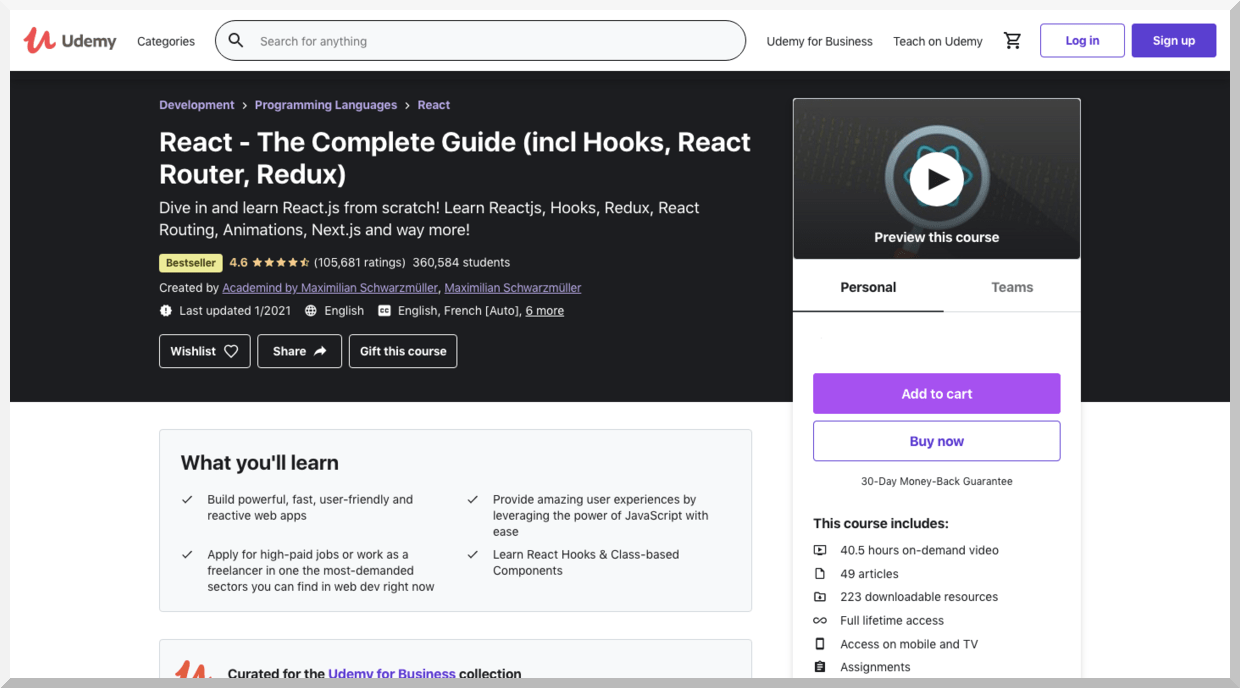 React-The Complete Guide (incl Hooks, React, Router, and Redux) – Udemy