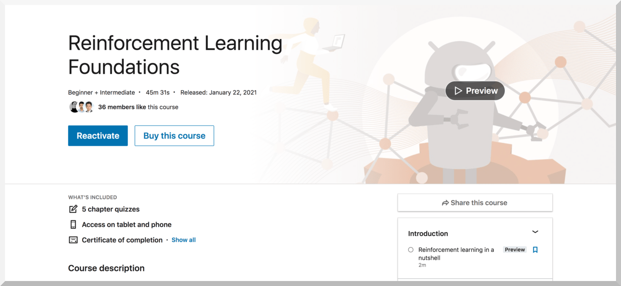 Reinforcement Learning Foundations – LinkedIn Learning