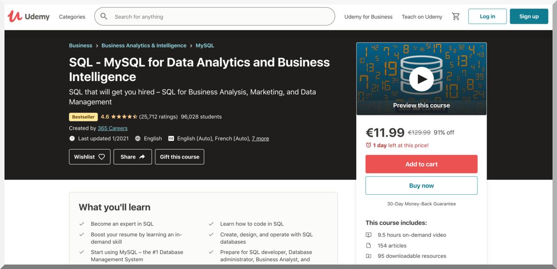 SQL – MySQL for Data Analytics and Business Intelligence – Udemy