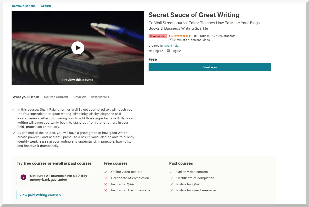 Secret Sauce of Great Writing -Udemy