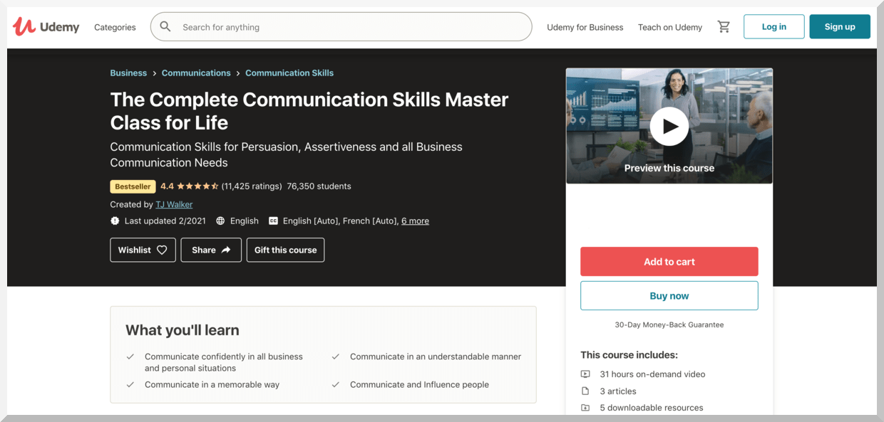The Complete Communication Skills Master Class for Life – Udemy