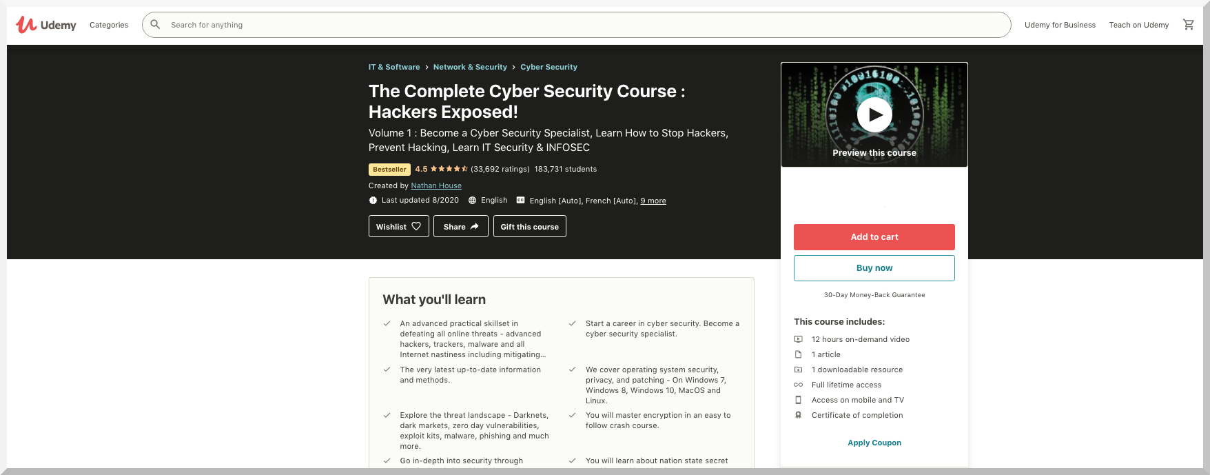 The Complete Cyber Security Course – Udemy