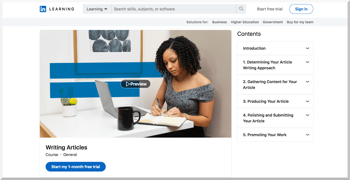 Writing Articles – LinkedIn Learning