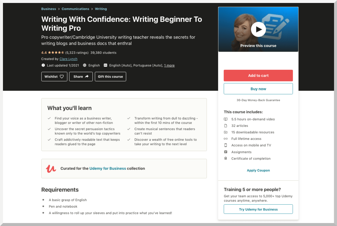 Writing With Confidence- Writing Beginner To Writing Pro - Udemy
