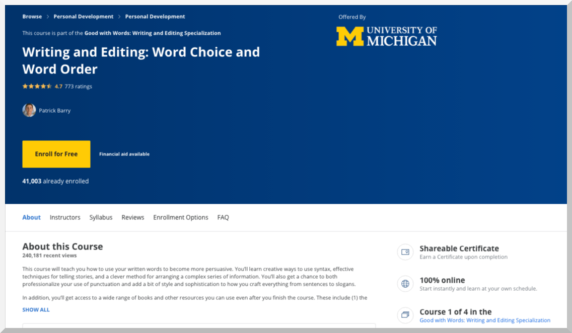 Writing and Editing- Word Choice and Word Order – Coursera