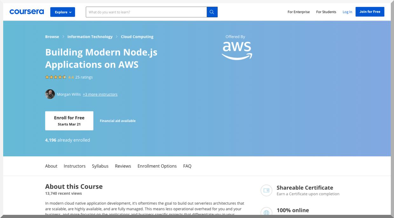 Building Modern Node.js Applications on AWS – Coursera