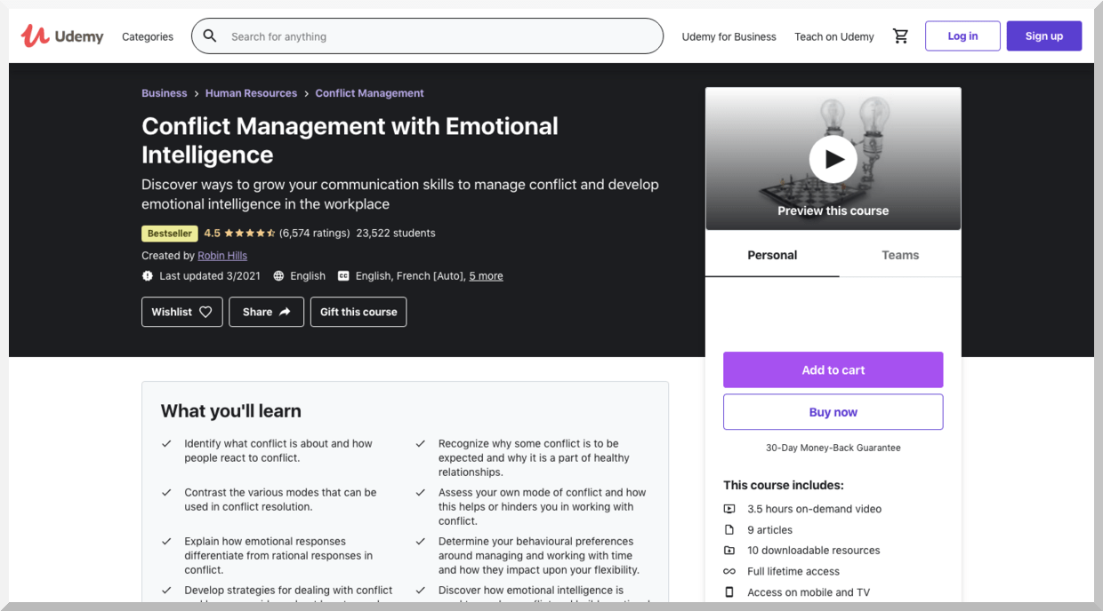 Conflict Management with Emotional Intelligence – Udemy