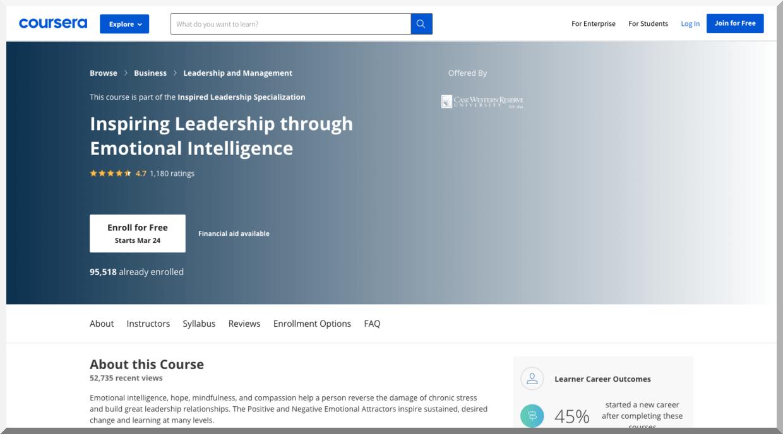 Inspiring Leadership through Emotional Intelligence – Coursera